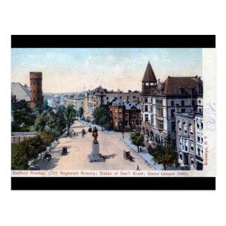 Cartão Postal Avenida de Bedford., Brooklyn, vintage 1906 de NY
