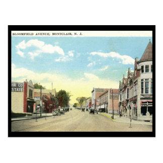 Cartão Postal Avenida de Bloomfield., vintage de Montclair NJ