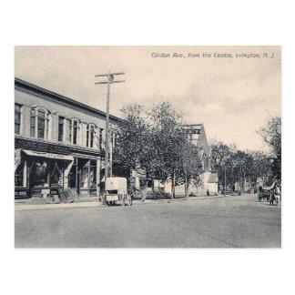 Cartão Postal Avenida de Clinton., Irvington, vintage de