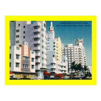 Cartão Postal Avenida de Collins., Miami Beach, vintage de FL