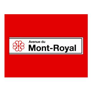 Cartão Postal Avenida du Mont-Real, sinal de rua de Montreal