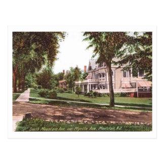 Cartão Postal Avenida sul da montanha., Montclair, vintage de