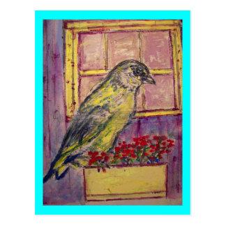Cartão Postal aves canoras no esboço da caixa de janela