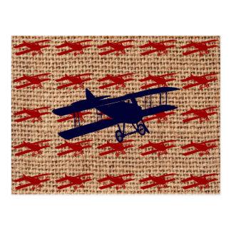 Cartão Postal Avião da hélice do biplano do vintage no impressão