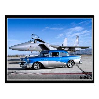 Cartão Postal Avião de combate 1955 clássico especial do carro