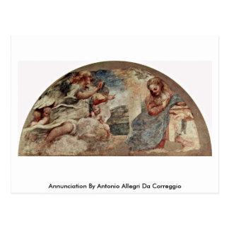 Cartão Postal Aviso por Antonio Allegri a Dinamarca Correggio