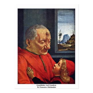 Cartão Postal Avô e neto por Domenico Ghirlandaio