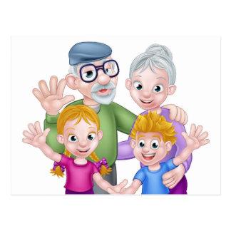 Cartão Postal Avós e netos dos desenhos animados
