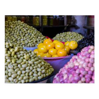 Cartão Postal Azeitonas e limão no mercado