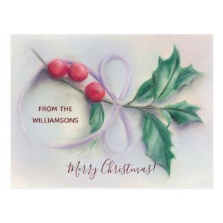 Cartão Postal Azevinho com Natal personalizado Pastel do arco