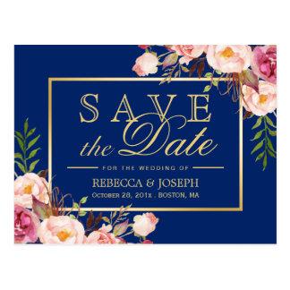 Cartão Postal Azuis marinhos reais do ouro floral cor-de-rosa -
