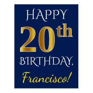 Cartão Postal Azul, aniversário do ouro do falso 20o + Nome