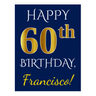 Cartão Postal Azul, aniversário do ouro do falso 60th + Nome