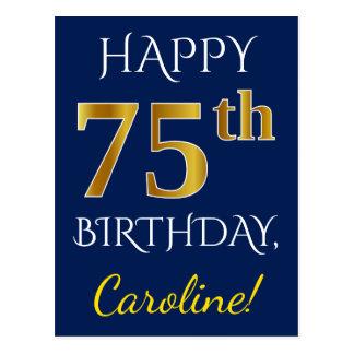 Cartão Postal Azul, aniversário do ouro do falso 75th + Nome