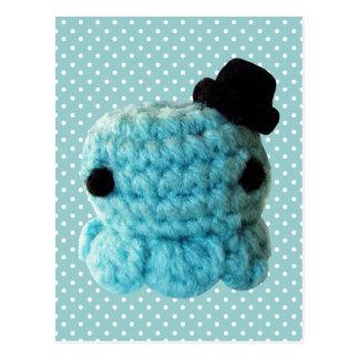 Cartão Postal Azul bonito do chapéu alto do polvo de Amigurumi