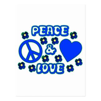 Cartão Postal Azul com paz das flores e design do amor