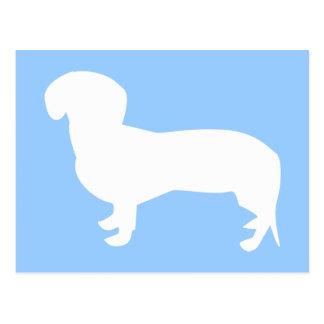 Cartão Postal Azul da silhueta do Dachshund