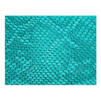 Cartão Postal Azul de turquesa do réptil