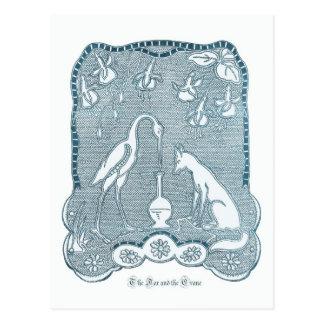 Cartão Postal Azul do Fox e do guindaste