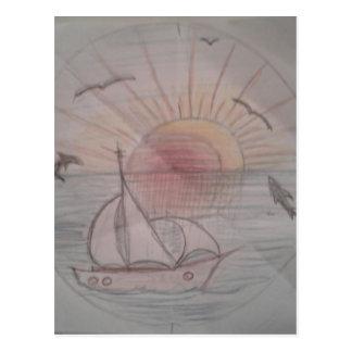 Cartão Postal Azul do sol do divertimento