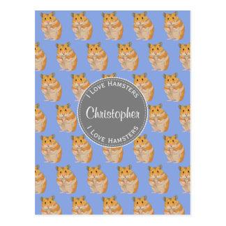 Cartão Postal Azul eu amo o teste padrão do hamster dos hamster
