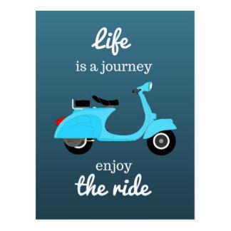 Cartão Postal Azul inspirado Ombre das citações da vida