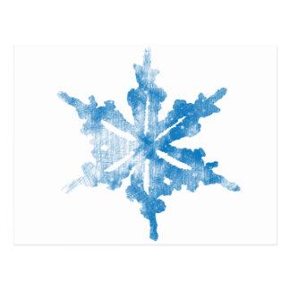 Cartão Postal Azul no design gelado branco do floco de neve