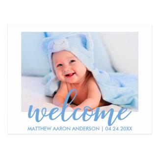 Cartão Postal Azul novo bem-vindo moderno do anúncio do bebé