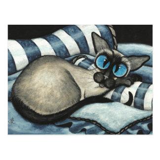 Cartão Postal Azul Siamese do desenhista