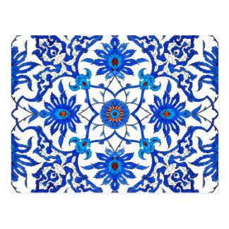 Cartão Postal Azulejo do chinês de Nouveau da arte - azuis