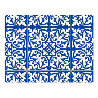 Cartão Postal Azulejo marroquino - azuis cobaltos e branco