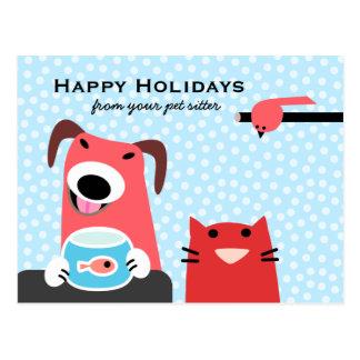 Cartão Postal Baby-sitter do animal de estimação boas festas