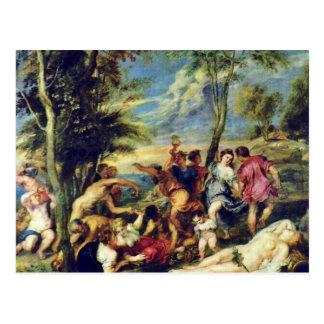 Cartão Postal Bacchanal em Andros após uma pintura