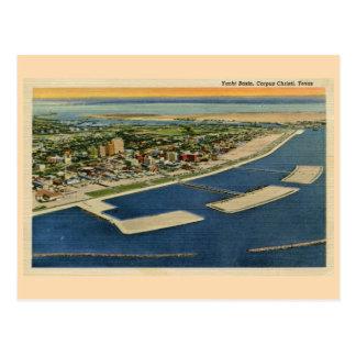 Cartão Postal Bacia do iate do vintage, Corpus Christi, Texas