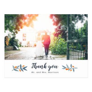 Cartão Postal Bagas dos galhos da flor da aguarela que Wedding o