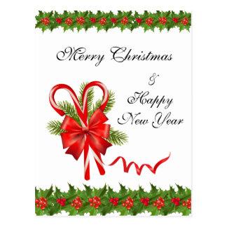 Cartão Postal Bagas Natal do azevinho e bastões de doces