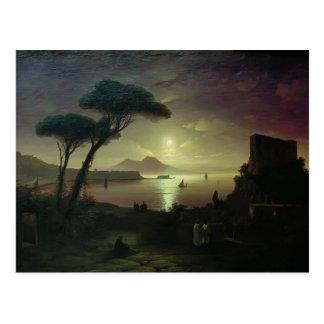 Cartão Postal Baía de Ivan Aivazovsky-The de Nápoles na noite