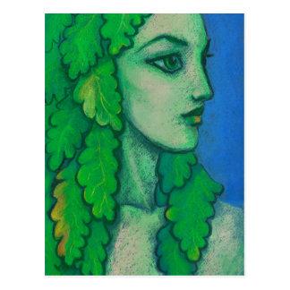 Cartão Postal Balanis, dríade, folhas verdes, deusa da floresta,
