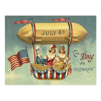 Cartão Postal Balão de ar do zepelim da bandeira dos E.U. do tio