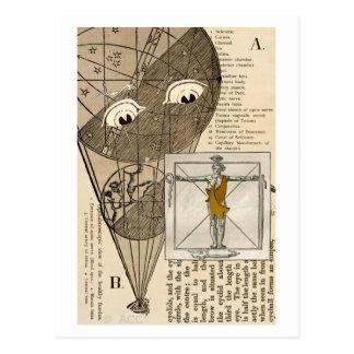 Cartão Postal Balão de ar quente com os olhos que olham o homem