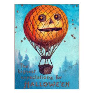 Cartão Postal Balão de ar quente da lanterna de Jack O