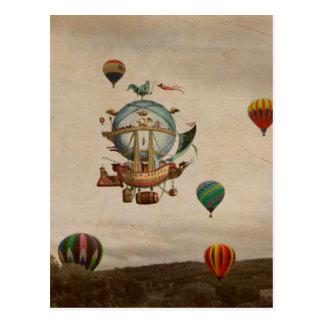Cartão Postal Balão de ar quente, viagem de Minerve 1803 do La
