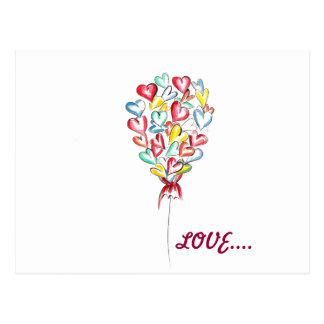 Cartão Postal Balão do amor dos namorados