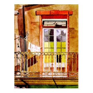 Cartão Postal Balcão com lavanderia - desenho da aguarela