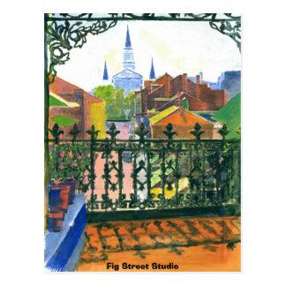 Cartão Postal Balcão do bairro francês, estúdio da rua do figo