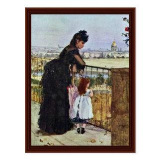 Cartão Postal Balcão por Morisot Berthe