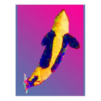 Cartão Postal Baleia de assassino da orca que rompe em cores