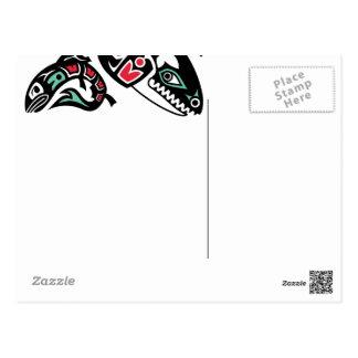 Cartão Postal Baleia de assassino da orca & salmões - gráfico de
