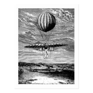 Cartão Postal Balloonist do balão do vintage com pára-quedas