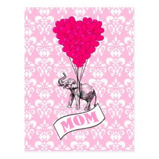Cartão Postal Balões da mamã, do elefante e do coração